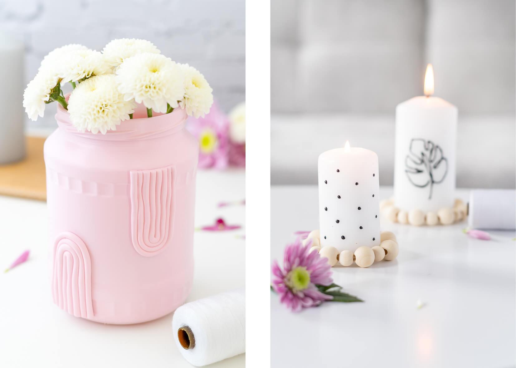 Kerze mit Kerzenliner bemalt. Eine Kerze mit Punkten und eine Kerze mit Lineart bemalt.
